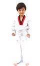 Little tae kwon do boy martial art white background Royalty Free Stock Photo