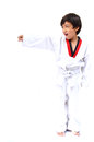 Little tae kwon do boy martial art white background Stock Photography