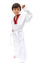 Little tae kwon do boy martial art white background Stock Images