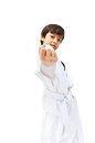 Little tae kwon do boy martial art white background Royalty Free Stock Photos