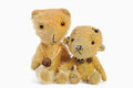 Little teddy two bears hugging each other over white Stock Photography