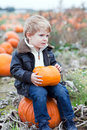 Little toddler boy on pumpkin field Royalty Free Stock Photo