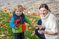 Little toddler boy and young mother in the autumn park women having fun playing with red yellow leaves Stock Images