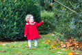 Little toddler girl wearing a red coat in autumn park adorable with curly hair Stock Photography