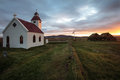 Little town in iceland small church Royalty Free Stock Images