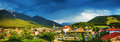Little town in the mountains europe austria seefeld alps dark blue sky beautiful buildings traditional architecture summer Stock Photo