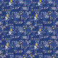 Little town seamless pattern in doodle style. Tiny city night background with cartoon houses in the street. Hand drawn desi