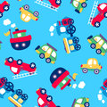 Little transport seamless pattern on a light blue background Royalty Free Stock Photo