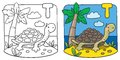 Little turtle coloring book. Alphabet T