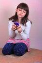 Little Tween Girl Texting Royalty Free Stock Photo