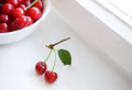 Little twig with two cherries Stock Photo