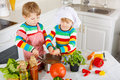 Little twins cooking italian soup and meal with fresh vegetables Royalty Free Stock Photo