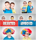 Little twins two young brothers with clown wig and books Royalty Free Stock Images