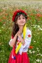 Little Ukrainian girl pray for peace Royalty Free Stock Photo