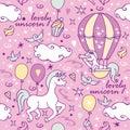 Little unicorn in air balloon looks into a spyglass