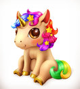 Little Unicorn cartoon character. Funny animals vector icon Royalty Free Stock Photo