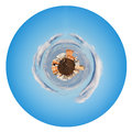 Little urban planet in morning autumn sky isolated on white background Stock Image
