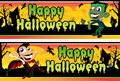 Little Vampire and Frankenstein Halloween Banners Royalty Free Stock Photos