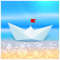 Little vector paper boat in a blue sea summer concept Stock Image