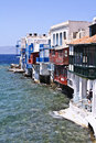 Little venice mykonos greece view from the water side Stock Image
