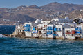 Little venice at mykonos island cyclades islands greece Stock Images
