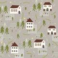 Little Village Church House n Trees Vector Pattern