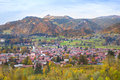 Little village with traditional church in the Alps Royalty Free Stock Photo