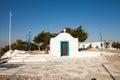 Little white chapel on the hill. Small church in Faliraki, Greek Royalty Free Stock Photo