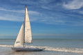 Little white sailboat grounded Royalty Free Stock Photo