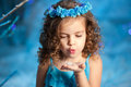 Little winter fairy tale girl and cute Royalty Free Stock Images