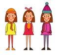Little winter kids schoolgirls isolated on white vector cartoon Royalty Free Stock Photo