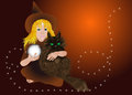 Little witch with cat eps Royalty Free Stock Photography