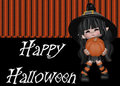 Little Witch Happy Halloween Background Royalty Free Stock Photo