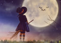Little witch outdoors Royalty Free Stock Photo