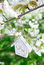 Little wooden house in spring with blossom cherry flower sakura white Stock Images