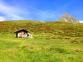 Wooden hut in the mountains Royalty Free Stock Photo
