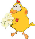 Little yellow chicken bunch flowers Royalty Free Stock Image