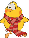 Little yellow chicken striped scarf Royalty Free Stock Photography