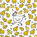 Little yellow chickens with mum white hen easter seamless pattern spring holiday illustration on dotted background Royalty Free Stock Photos