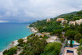 Littoral the coast of the ligurian sea in the town of varazze italy Stock Photography