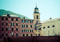 Littoral village cityscape with gull vintage style Royalty Free Stock Images