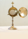 Liturgical vessel gold monstrance Royalty Free Stock Photo