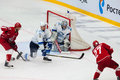 A litvinenko defend the gate moscow october during hockey game vityaz vs barys on russia khl championship on october in moscow Stock Image