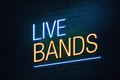 Live bands club concept neon sign blue and orange with text on wall Royalty Free Stock Photography