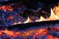 Live coal burning