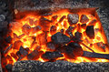 Live coals abstract background close up Royalty Free Stock Photos
