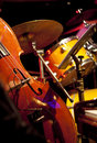 Live jazz-instrument set up on a stage Royalty Free Stock Photo
