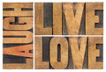 Live love laugh in wood type word abstract vintage letterpress Stock Photography