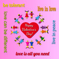 Live in love a saint valentines day card appealling for peace and tolerance Royalty Free Stock Photo