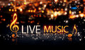 Live Music Gold Silver City Bokeh Star Shine Blue Background 3DLive Music Gold Silver City Bokeh Star Shine Yellow Background 3D Royalty Free Stock Photo